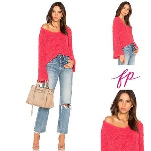 NWT Pink Free People V neck bell sleeve sweater